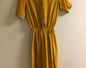 Vintage Mustard Yellow Peace Pipe Native American Print Dress