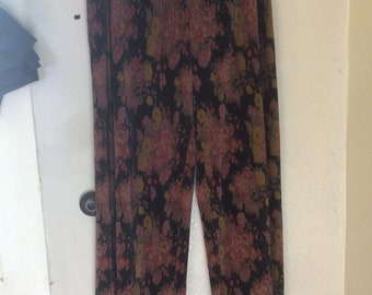 Vintage Wide Legged High Waisted Floral Accordion Pants