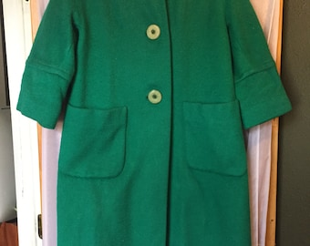 Vintage Emrald Green 1950s Jacket With Silky Lining