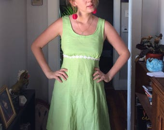 90s Lime Green Gingham Dress With Daisy Embellishments