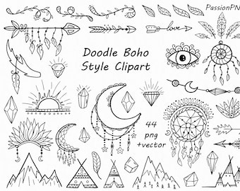 Doodle Boho Style Clipart, hand drawn indian clip art, sketch, png, vector, outline for  Personal and Commercial Use