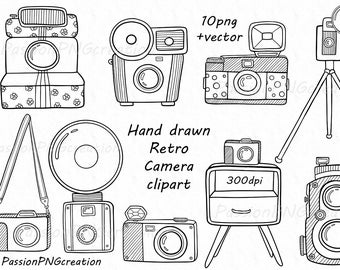 Hand drawn Retro Camera Clipart, Digital Doodle cameras clip art, vector, PNG, EPS, AI, For Personal and Commercial Use