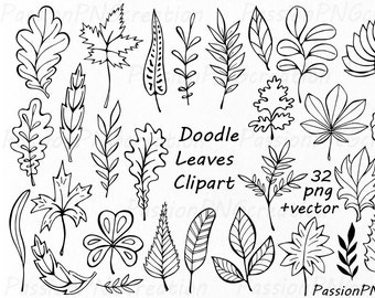 Hand Drawn Doodle Leaves Clipart, leaves silhouette, PNG, EPS, AI, Vector, Foliage Clip art, for Personal and Commercial Use