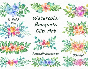 watercolor bouquets clipart transparent background png digital watercolour clip art watercolor floral for personal and commercial use