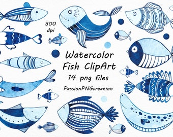 Watercolor Fish Clipart Transparent Background Clip Art Watercolour Variety PNG For Personal And Commercial Use
