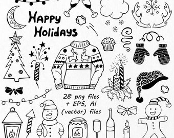 christmas doodle clipart christmas clip art etsy rh etsy com Doodle Border Clip Art Doodle Clip Art Art