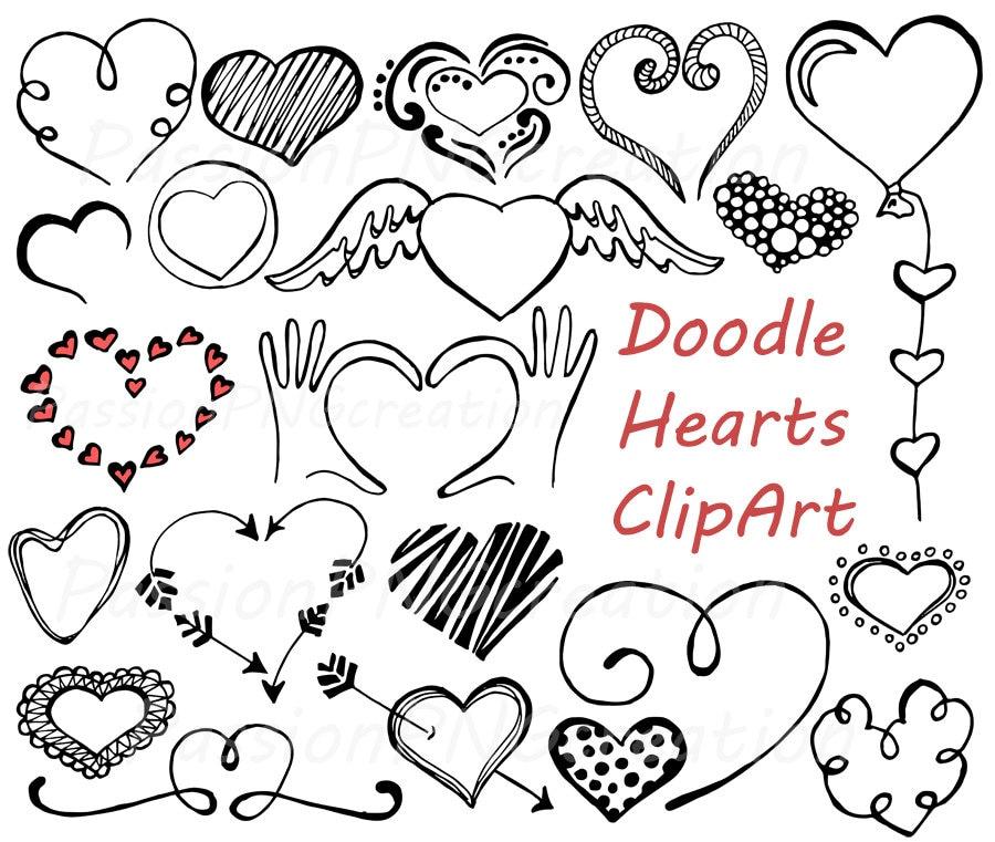 Doodle Hearts Clipart Heart clip art Digital hearts clip ...