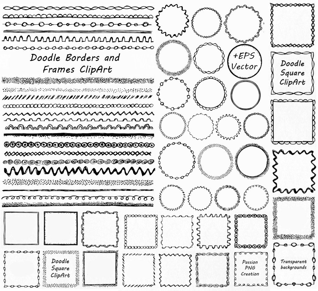 GROßE SET Doodle Ränder und Rahmen Clipart Doodle ClipArt | Etsy