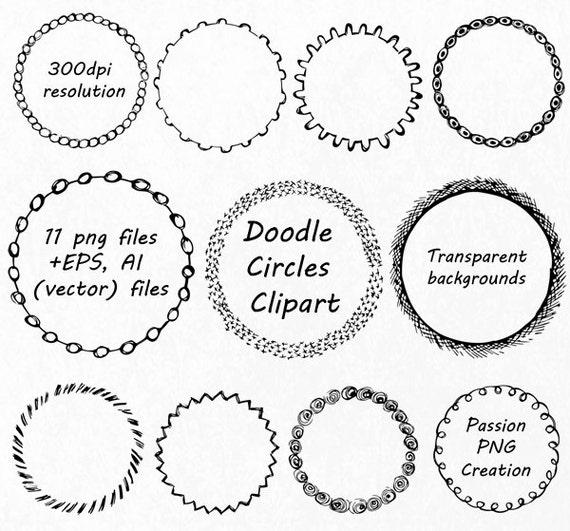 Doodle Circle Clipart Hand drawn Circle Frames Clip art PNG | Etsy