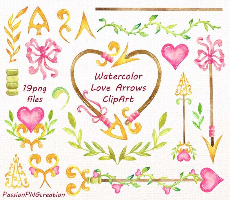 Watercolor love Arrows Clip art Handpainted clipart Tribal wedding clipart diy greeting card for Personal and Commercial Use PNG