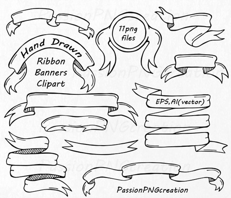 Hand Drawn Ribbon Banners Clipart Doodle clip art Elements ...