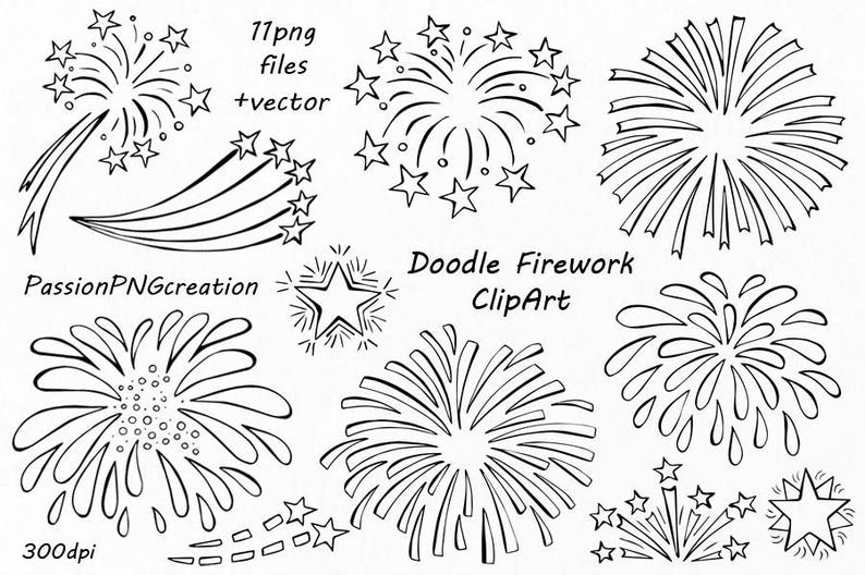 Doodle Firework Clipart, vector, PNG, EPS, AI, transparent background,  digital fireworks, Hand drawn, For Personal and Commercial use