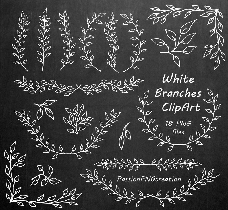 Laurel Clipart PNG Chalkboard clipart Personal and Commercial Use Herbs Silhouette Big Set of White Hand Drawn Herbs Clipart