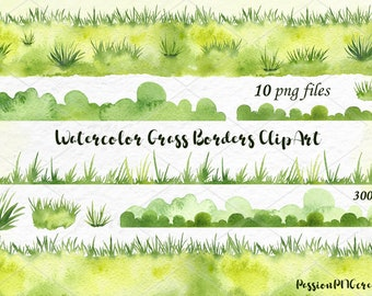 Watercolor Grass Borders Clipart, Watercolour Grass Borders clip art, Digital, Instant Download, meadow, PNG, Personal and Commercial Use