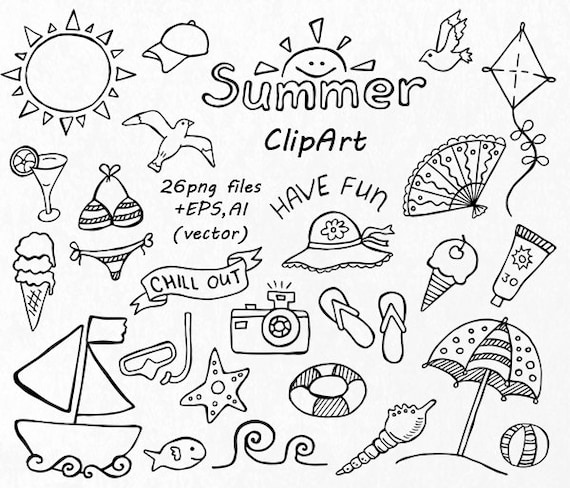 Doodle Summer Clipart Hand Drawn Vacation Digital