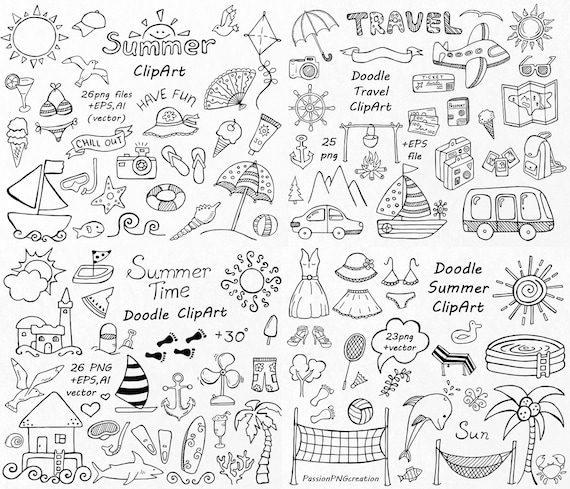 big set of doodle summer cliparts hand drawn vacation etsy rh etsy com doodle cartoons doodle clipart border