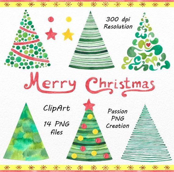 Aquarell Weihnachtsbaum Clipart Digitale Weihnachten Clipart Etsy