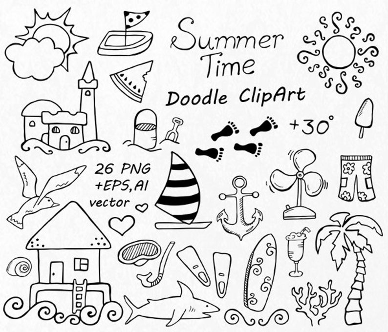 Doodle Summer Clipart Hand Drawn Vacation Clipart Digital