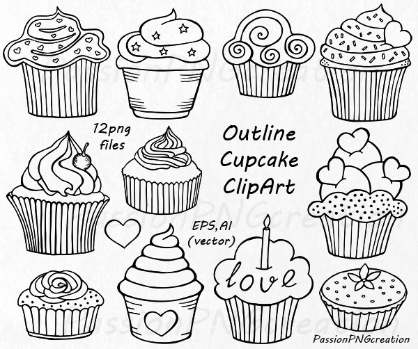 Outline Cupcake Clipart Doodle Cupcakes Clip Art Hand Drawn