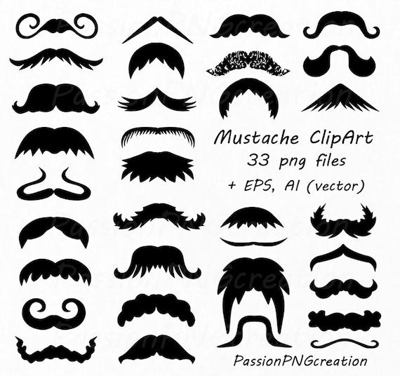 Digital Mustache Clipart PNG EPS Vector Photo Prop