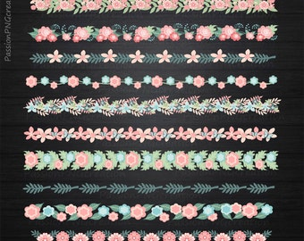 Floral border clipart, Flower border clipart, Flower border clip art, Digital flower border, flower clipart, Personal and Commercial use