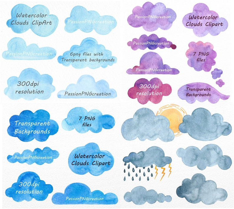 Big Set of Watercolor Clouds Clipart, 28 PNG files, Clouds Clip art,  Watercolor clipart, clip art, Sun, Logo, Personal and Commercial Use