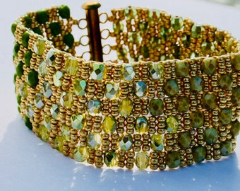 Shades of Green and Gold Beadwoven Cuff Bracelet