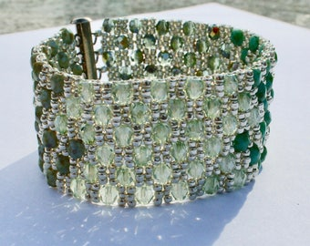 Shades of Silver Green and Turquoise Beadwoven Cuff Bracelet