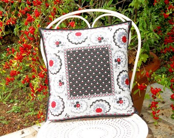 Handmade cushion, Christmas cushion, black fabric cushion, throw pillow, scatter cushion, envelope back
