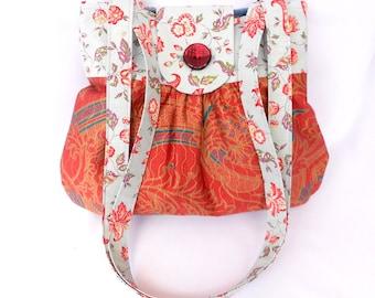 Handmade handbag, fabric handbag, red handbag, women's handbag, fabric tote handmade, inside zip pocket