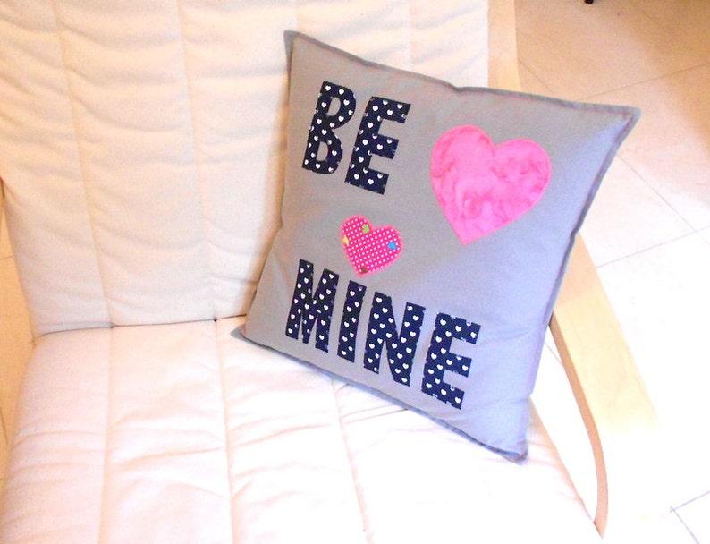 Applique cushion handmade cushion grey cushion heart etsy