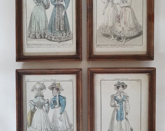 number 176 painted canvas dresses belle epoque Les costumes parisiens children signed Mfn Engraving dated 1914 framed under glass