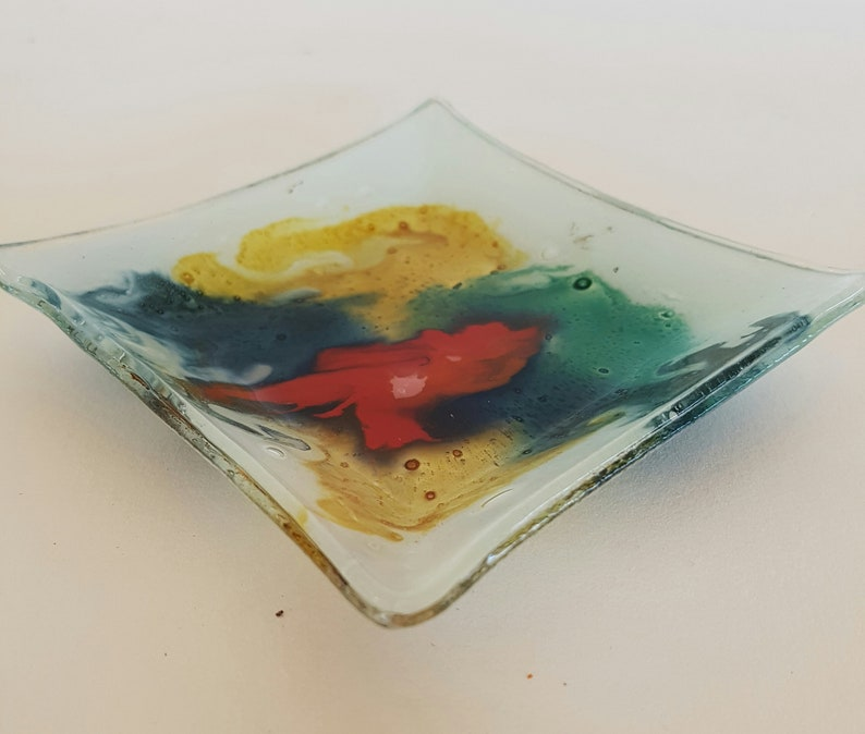 Beautiful Colourful Handmade Glass Trinket Dish Tray
