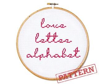 Cross Stitch Cursive Alphabet Pattern - Love Letter Font