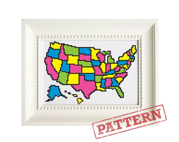 United States Map Color In Cross Stitch Pattern   Etsy