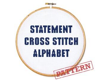 Cross Stitch Alphabet Pattern - Statement Font