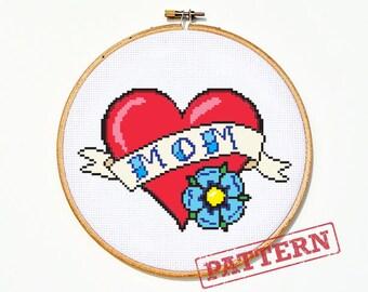 Mom Heart Tattoo Cross Stitch Pattern