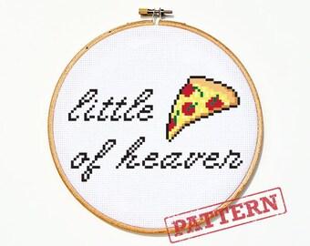 Little Slice of Heaven Pizza Cross Stitch Pattern