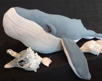 Large Fleece Whale Stuffed Animal, humpback whale, nautical theme, boy's nursery, ocean decor