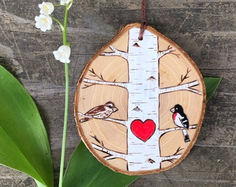 Birch tree with rose breasted grosbeak bird couple on wood slice. Woodland Personalized ornament custom made by Forage Workshop PREORDER