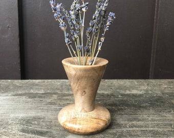 Ambrosia maple wood turned stick vase. Small wooden dry flower vase. Handmade by Forage Workshop