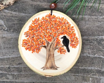 Autumn tree with raven on wood slice. Fall ornament. Handmade by Forage Workshop PREORDER