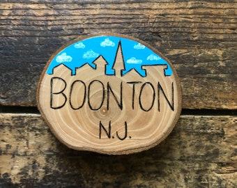 Boonton New Jersey skyline magnet. Hand burned wood slice magnet. Handmade by Forage Workshop