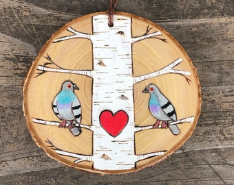 Winter birch tree with rick dove pigeon couple on wood slice. Woodland ornament. Lovebirds valentine Handmade by Forage Workshop PREORDER