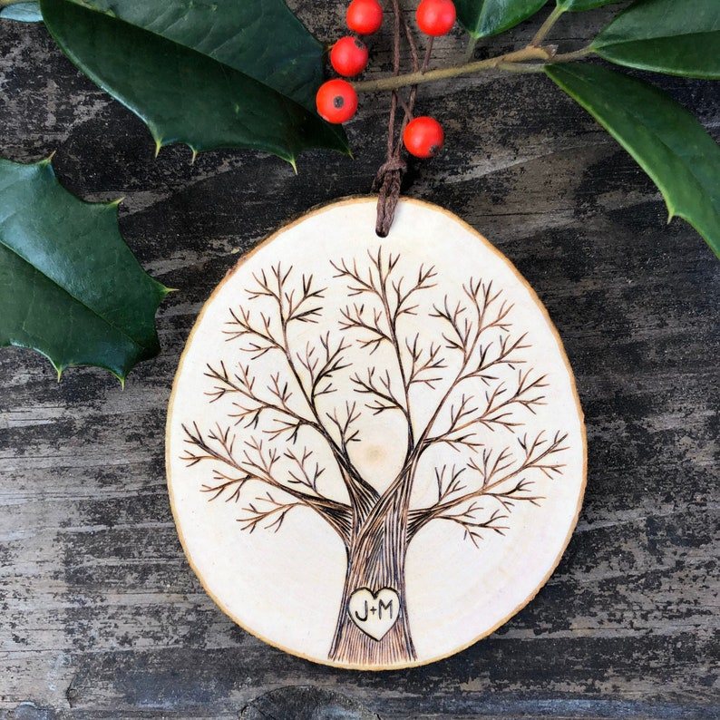 Personalized heart & initials on single winter tree. Wood image 0