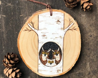 Birch tree  owl family on wood slice. Woodland ornament. Great horned owls. Hand painted & wood burned Handmade by Forage Workshop PREORDER