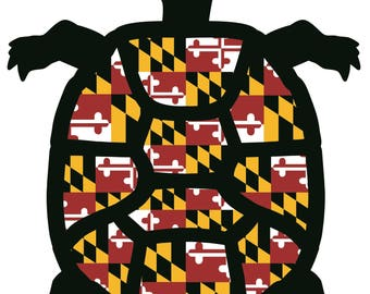 Maryland flag turtle magnet or decal