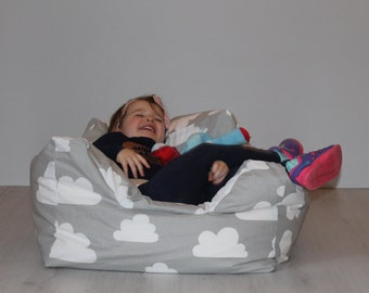 Beanbag chair for babies and toddlers. Farg & Form grey clouds fabric. Nursery, playroom decor. Scandinavian design. New baby present.
