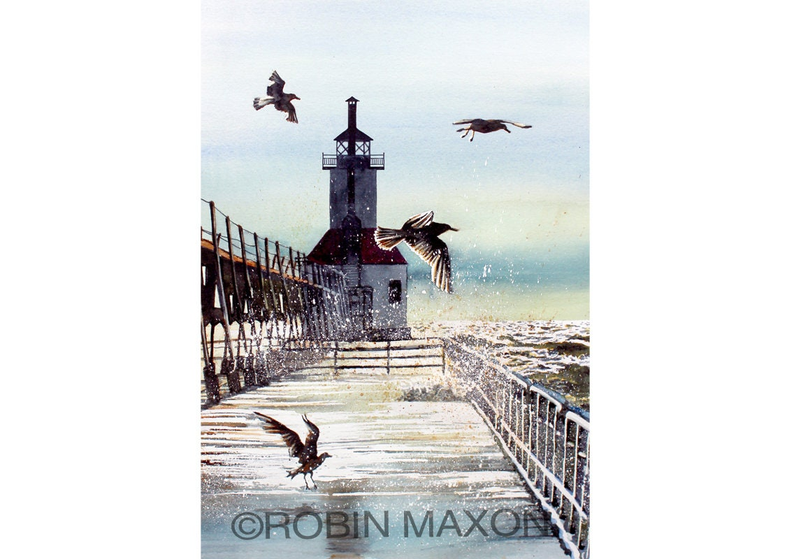Riding The Squalls Watercolor Painting By Robin Maxon Art Etsy