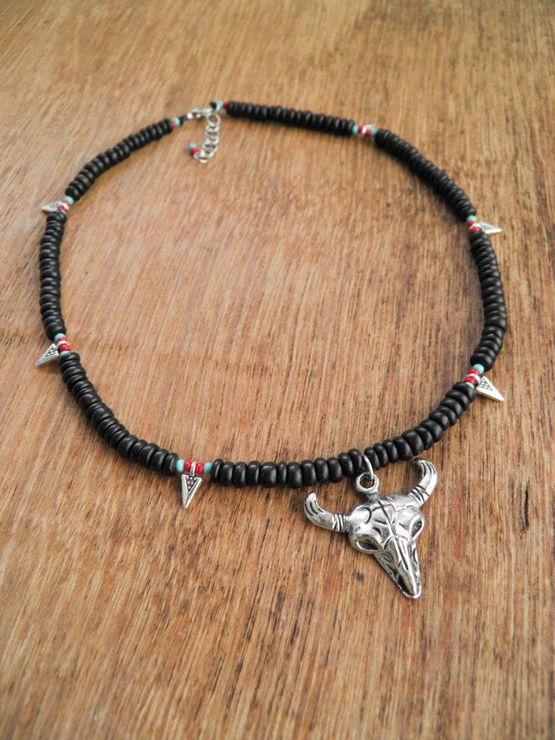 Buffalo head skull necklace,Boho necklace,Choker necklace,Black bone bead necklace,Silver metal buffalo necklace,Summer boho necklace